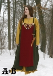 Viking Woman´s Apron Dress - green / red